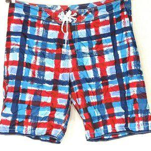 Old Navy Swim Trunks Shorts Men Size XXL Red Blue